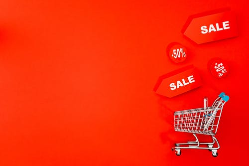 Mini Shopping Cart With Red background
