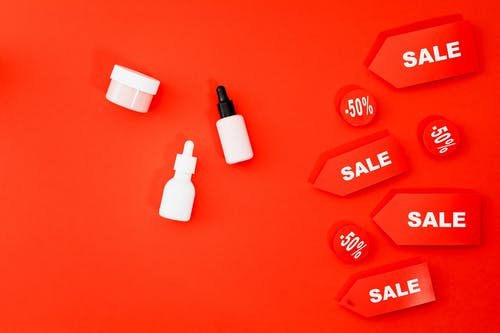 Healthcare Products At Sale On Red Background