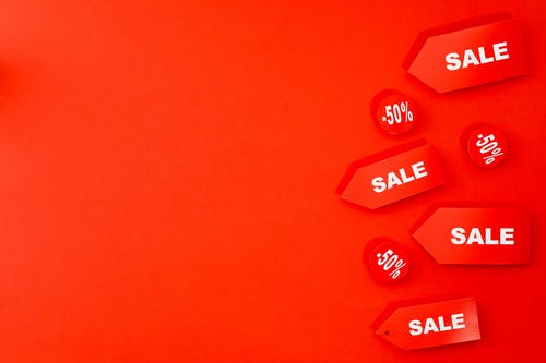 Sale and 50% Text on Red Background