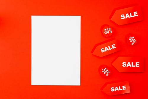 White And Red Background With Sale Text