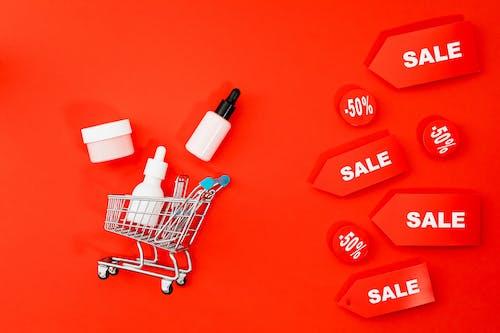 Flat Lay Of Shopping Cart