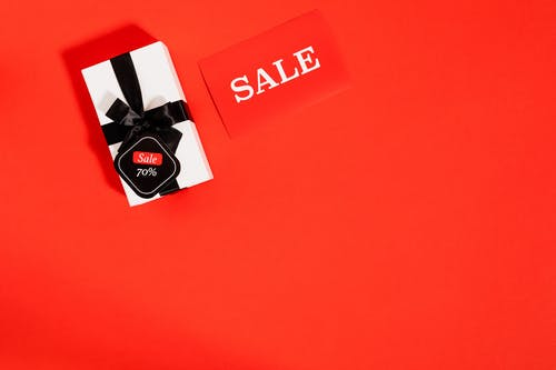 Gift Box With Black Ribbon For Black Friday Sale