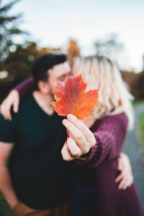 Unrecognizable couple kissing in park