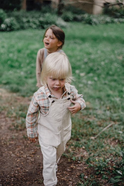Positive little kids in casual clothes strolling together on grassy verdant lawn in summer garden