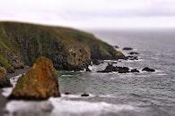 beach, cliff, tilt-shift