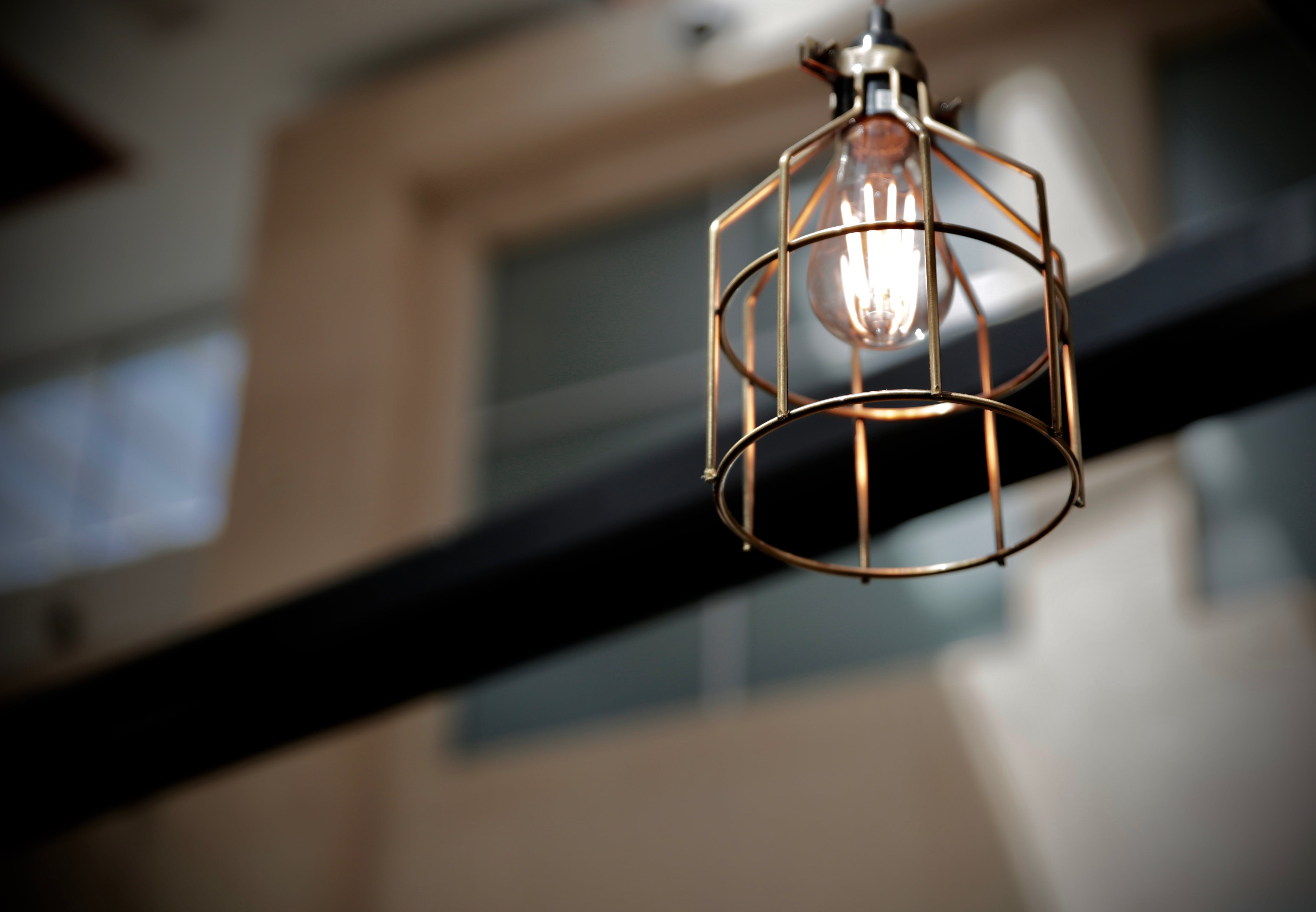 Low Light Photography of Gray Pendant Lamp
