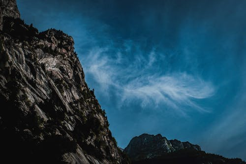 Rocky cliff against blue sky in valley