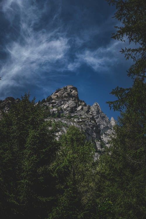 High rock and trees under cloudy sky