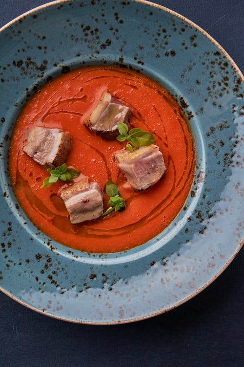Sliced Meat on White and Blue Ceramic Plate