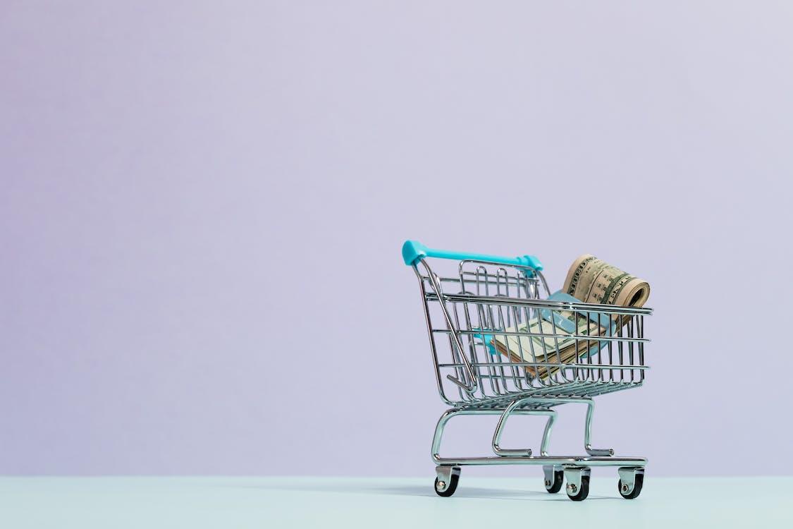 Cash Inside a Tiny Shopping Cart