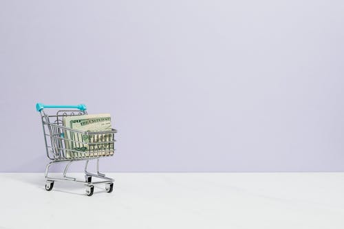Shopping Cart With Cash Inside