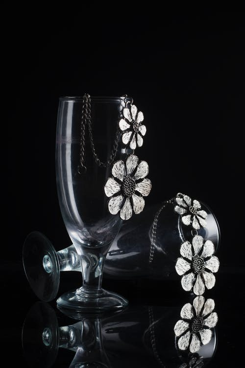Black and White Floral Glass Vase