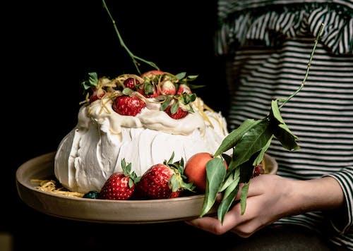 Strawberry Fruit on White Cream