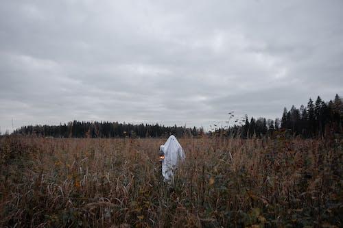Çim Sahada Duran Beyaz Elbiseli Kişi