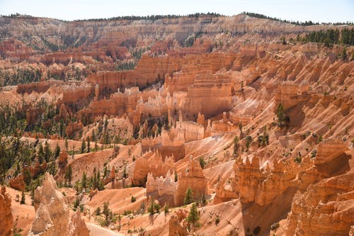 Bryce Canyon with sandy rocks in National Park of USA
