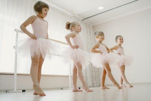 4 Little Girls Having Ballet Class