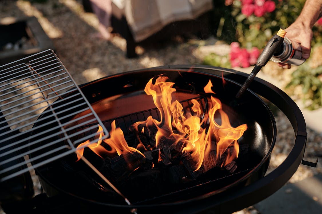 Burning Fire on Black Charcoal Grill