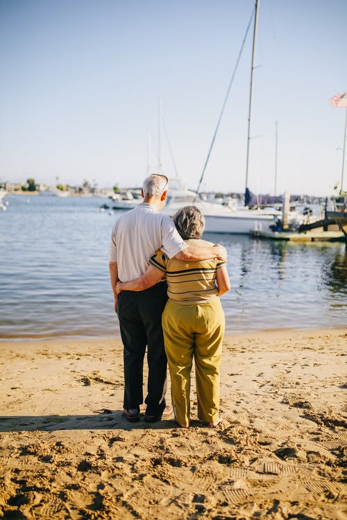 Elderly Couple Standing on the Shore
