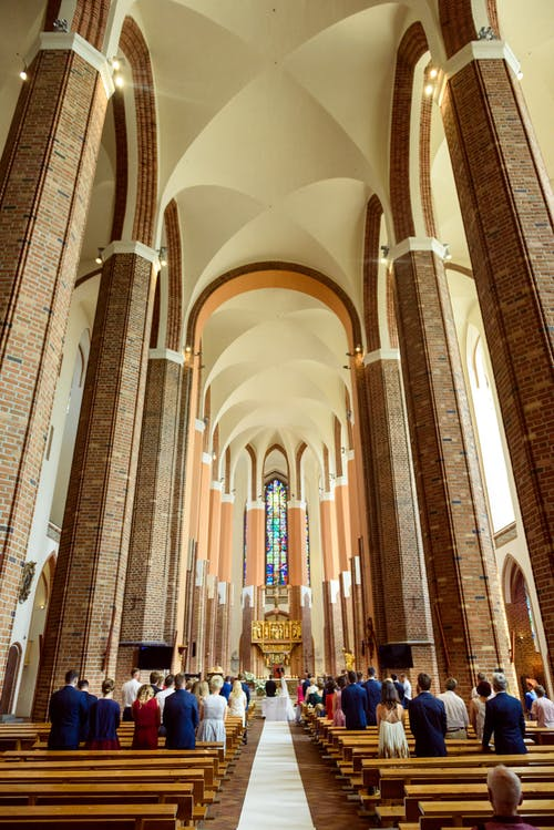 Catholic church hall during wedding ceremony