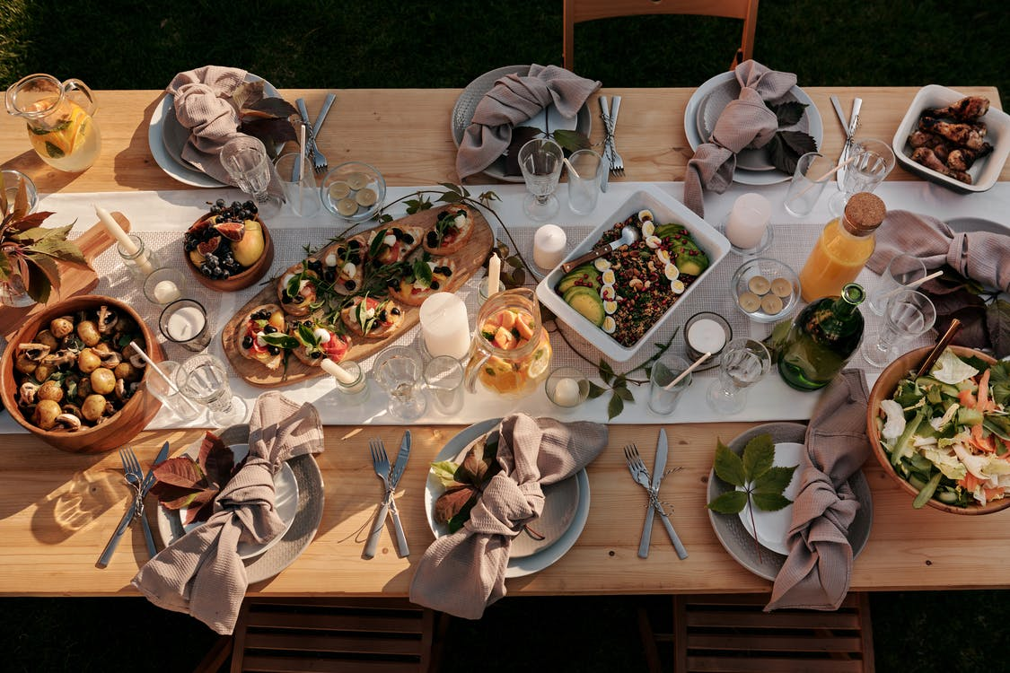 Assorted Dish on Brown Wooden Table