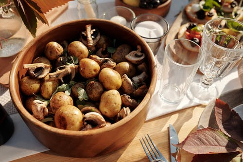 A Close-Up Shot of Potatoes and Mushroom in a Bowl