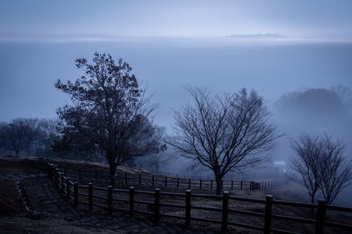 Empty hill slope in foggy morning