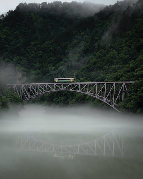 Railway bridge over river in mountain valley
