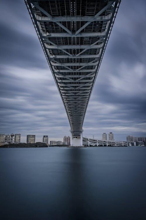 Modern bridge over calm river in city