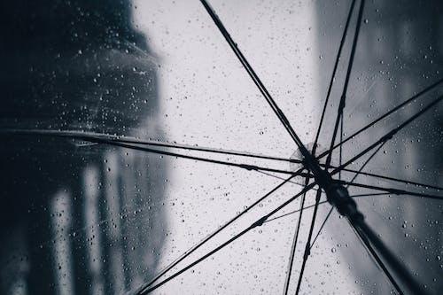 Rain droplets on wet transparent umbrella