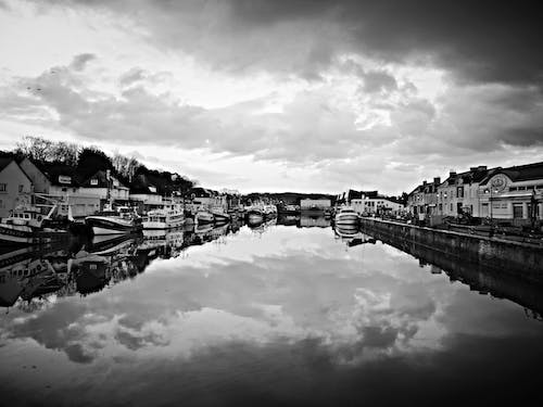 Free stock photo of black and white, boats, port, port town