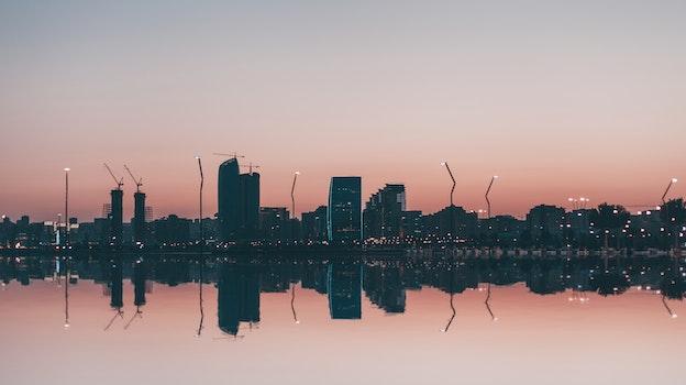 Free stock photo of city, landscape, sky, lights
