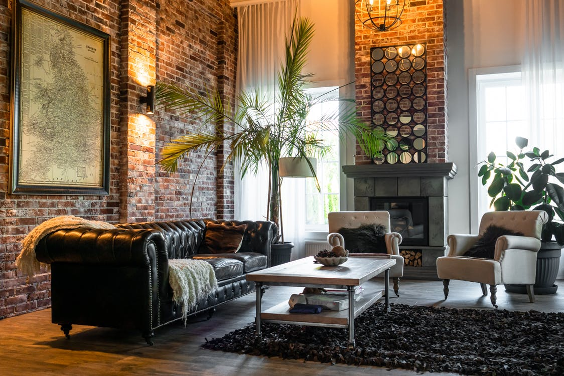 Living Room With Green Plants and Brown Sofa Chairs
