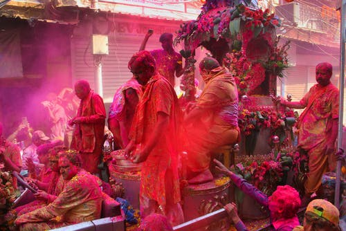 People In Parade During The Holi Festival In India