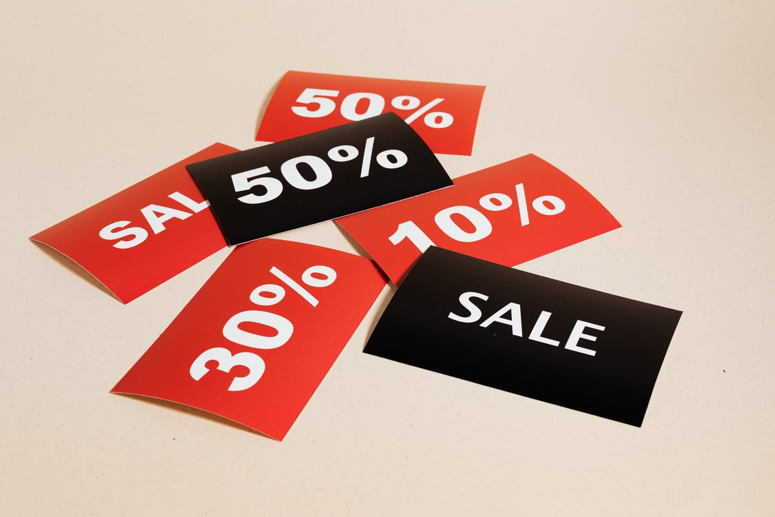 Sale Cards on Beige Background