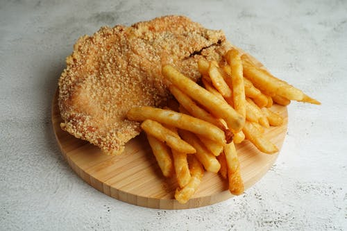 Fried Food on Brown Wooden Plate