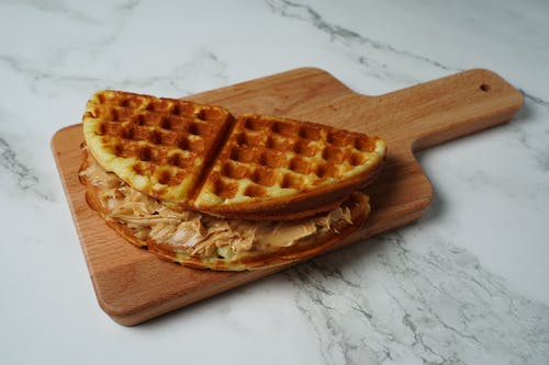 Waffle on Brown Wooden Tray