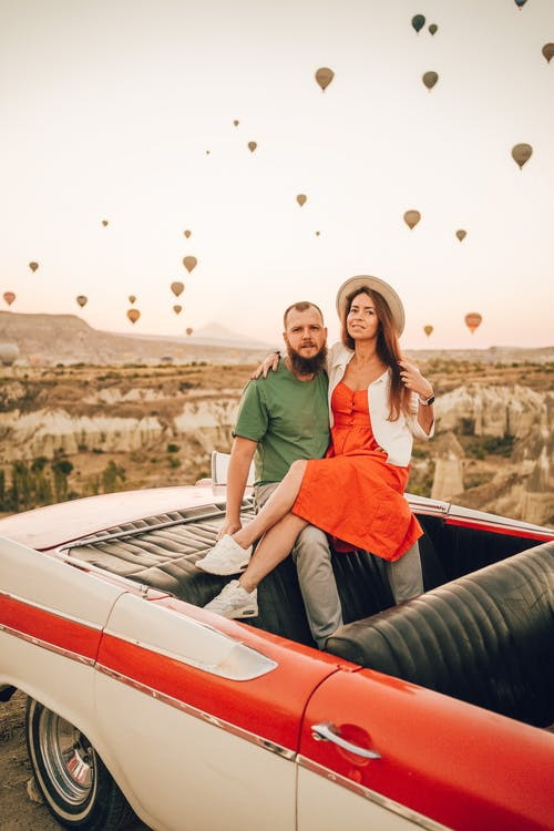 Loving couple having romantic date at Balloon Fest