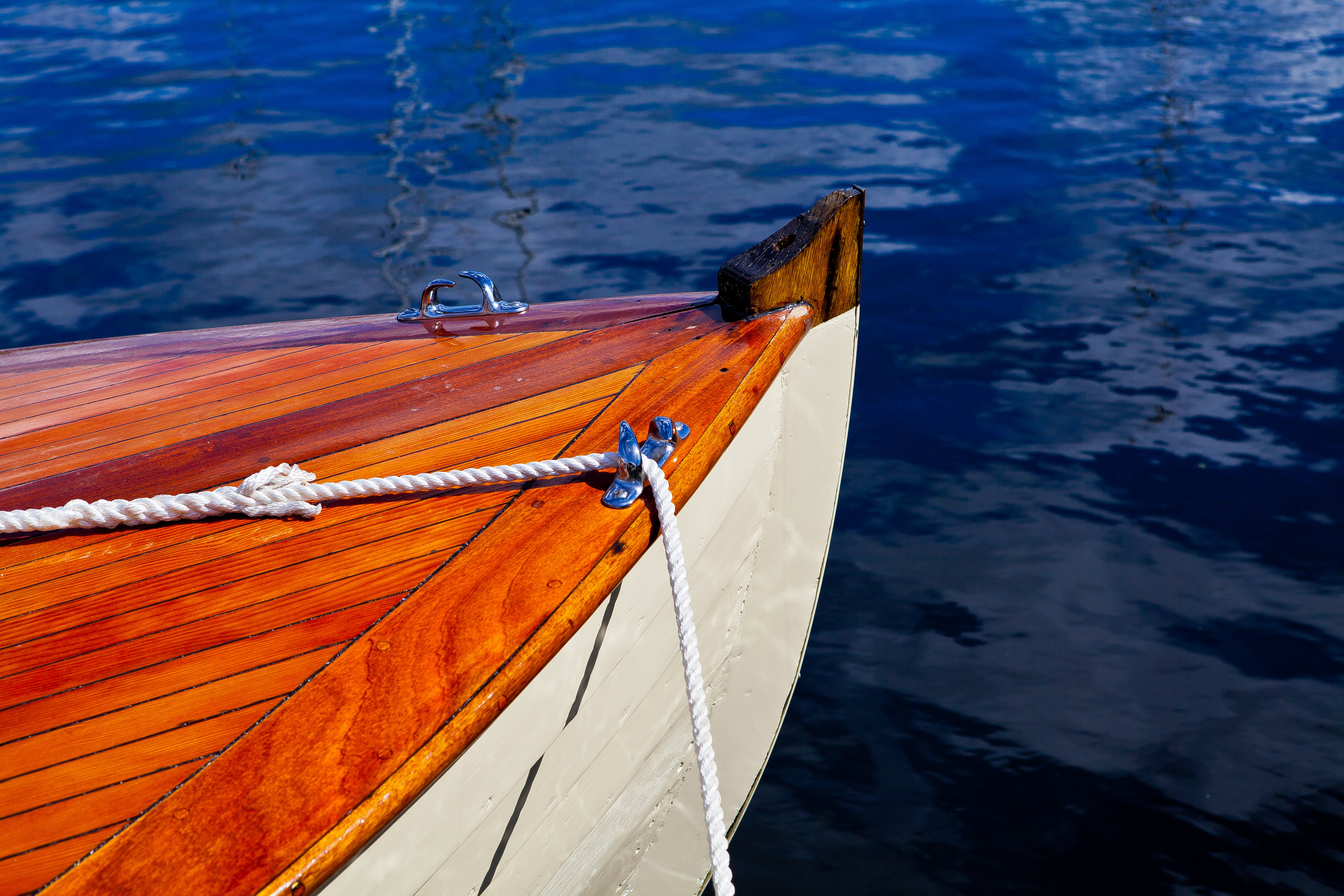Brown and White Boat on Body of Water