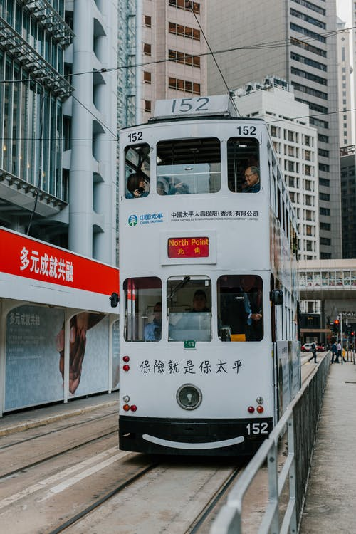 White and Red Tram on the City