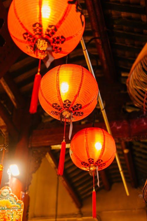 Red Paper Lanterns Hanging on Ceiling