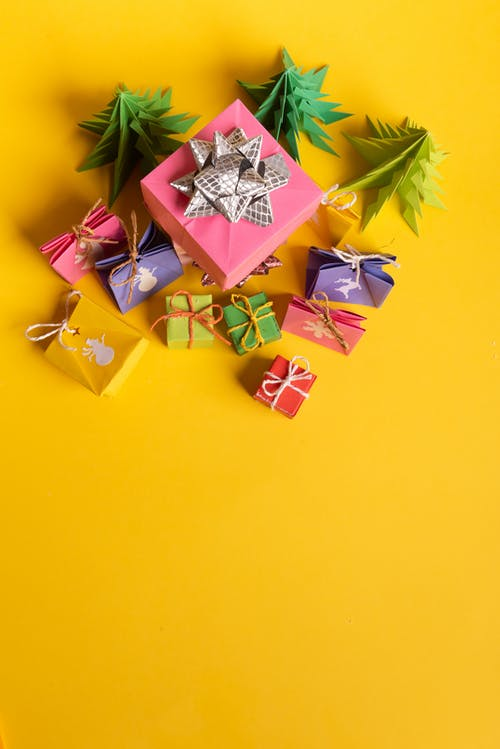 Yellow Pink and Green Gift Box
