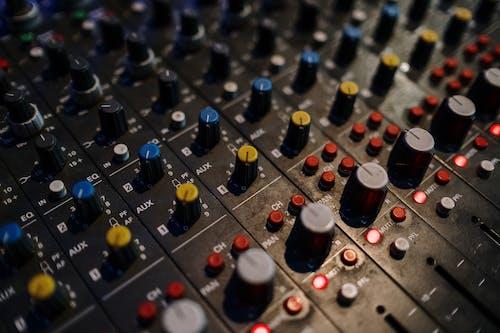 Blue and Black Audio Mixer