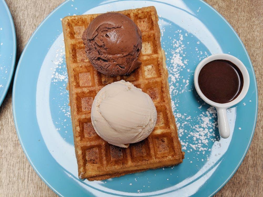 Chocolate Ice Cream on Blue Ceramic Plate