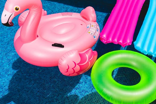 Pink Flamingo Inflatable Ring and Green Inflatable Ring on Swimming Pool