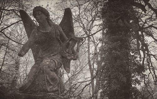 Kostnadsfri bild av ängel, gammalt foto, gråskale, grav