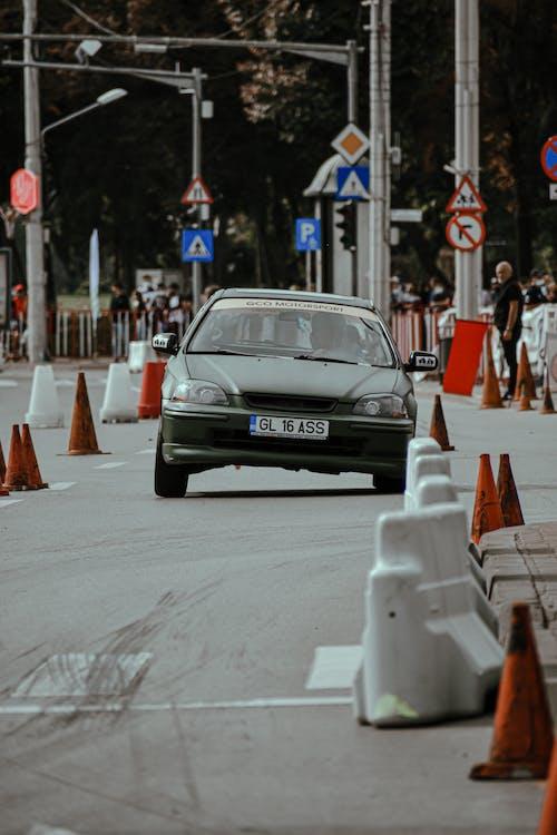 Driving rally car on street