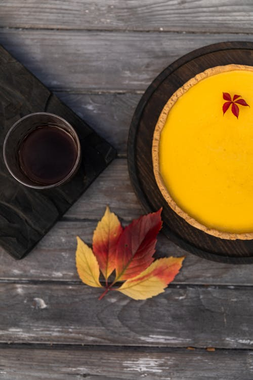 Pumpkin Pie With Red Maple Leaf