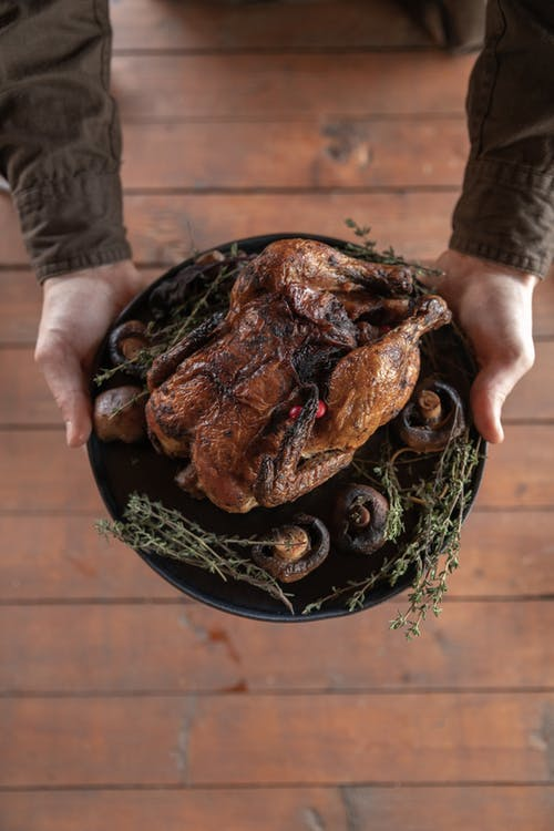Person Holding Black Round Plate With Cooked Turkey