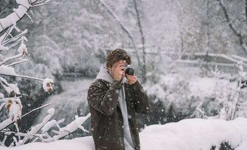 Man taking photo with camera in winter