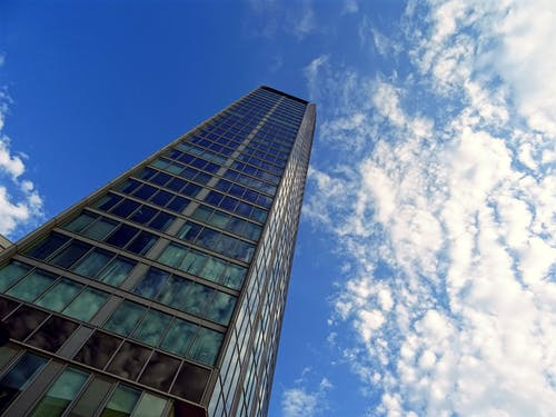 Ingyenes stockfotó ablakok, acél, alacsony szögű felvétel, ég témában